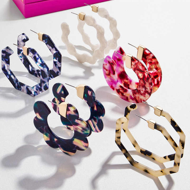 2019 Hot Sale Acrylic Hoop Earrings For Women Big Circle Acetate Resin Geometric Statement Hoops Fashion Za Jewelry Gift