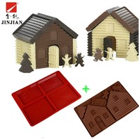 JINJIAN Silicone Non-stick Chocolate Molds Christmas house Shaped Jelly Ice Molds Cake Mould Bakeware Kitchen Baking Tools