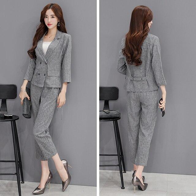 De gama alta de nuevo conjunto de moda de las mujeres de dos piezas de pantalones de algodón temperamento era delgada traje Sra.