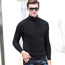 65cc9b2e9a7 MACROSEA 100% Wool Turtleneck Solid Men s Formal Business Male Vertical  Stripes