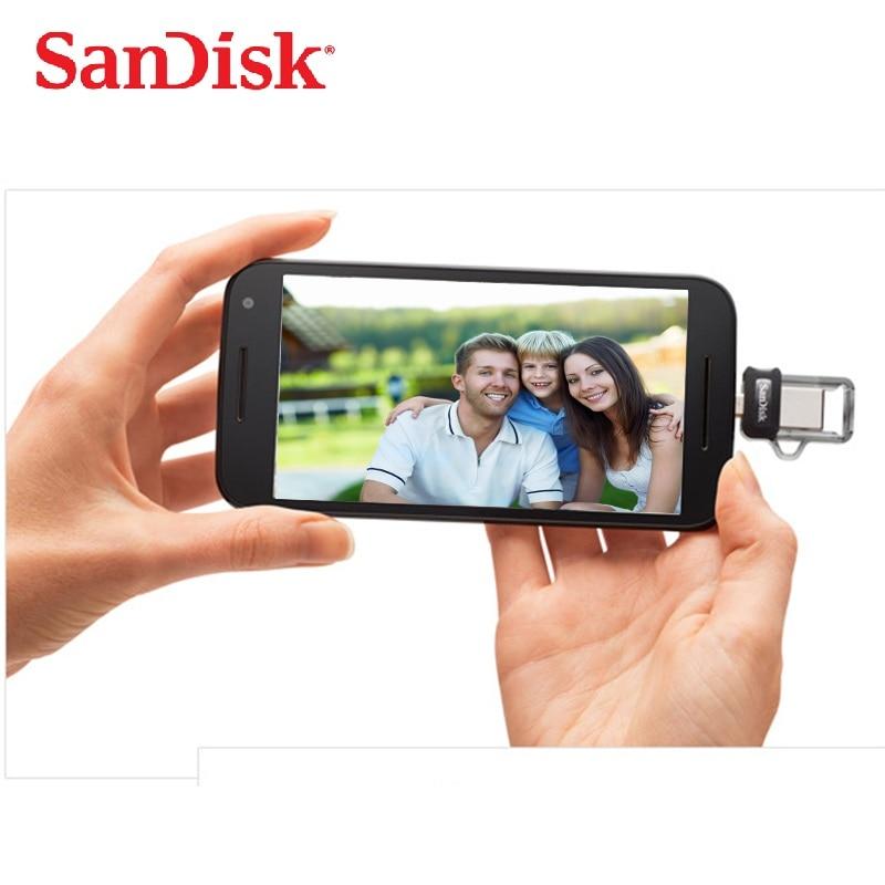 SanDisk Ultra Dual OTG USB zibatmiņas disks 32gb 16GB USB 3.0 pildspalva Diskdziņi 128GB PenDrives 64gb atbalsts