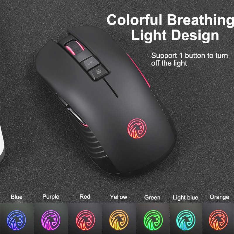 Ratón inalámbrico de 2,4 Ghz para Gaming, ratón profesional recargable para Gamer, ratón silencioso de 7 botones, ratón portátil para ordenador portátil