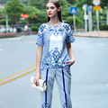 Street Twinset 2016 New Summer New Fashion Blue Short Sleeve Stripe Print Top + Elegant Calf Length Pants Classic Sets
