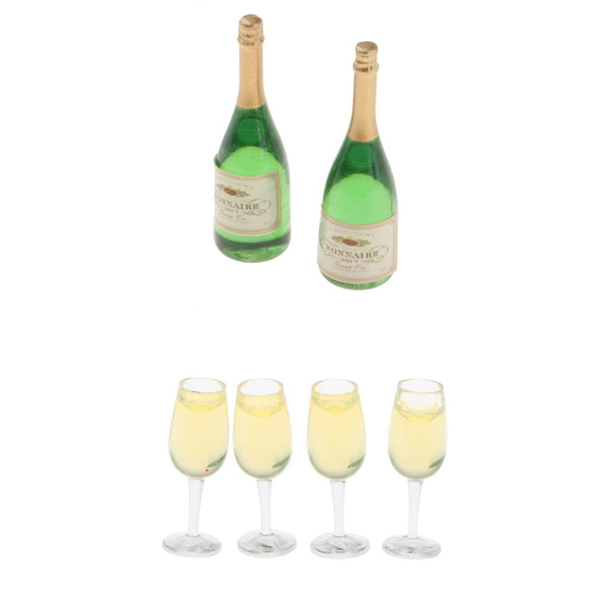 6 Pieces Wine Bottles & Goblets For 1/12 Scale Dollhouse Kitchen Dining Room Miniatures Accessories