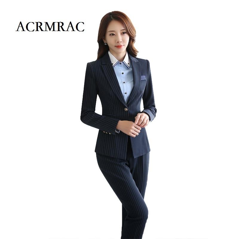 Aliexpress.com  Buy ACRMRAC Womenu0026#39;s Clothing Long Sleeves Stripe Dress Pants Jacket Formal Wear ...