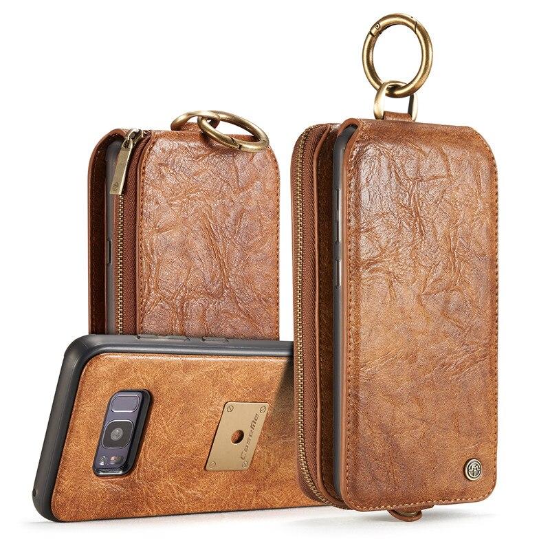 Caseme Роскошные Подлинная кожаный чехол Обложка для Samsung Galaxy S8 плюс телефон Чехол Многофункциональный Съемный Магнит Стенд Wallet сумки