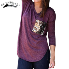 New Simple Casual Long Sleeve T shirts For Women Autumn Fall Tops Femme O-Neck Patchwork Pocket T-shirts Women Tops Clothing