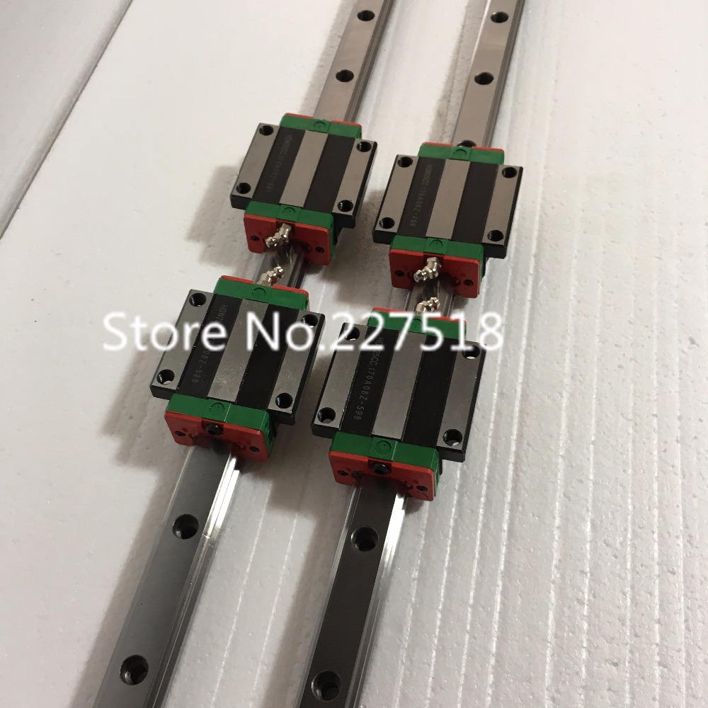 25mm Type 2pcs  HGR25 Linear Guide Rail L300mm rail + 4pcs carriage Block HGW25CC blocks for cnc router tbi 2pcs trh20 1000mm linear guide rail 4pcs trh20fe linear block for cnc