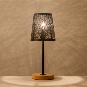Image 1 - OYGROUP Wrought Iron Hollow Lamp Shade + Wood Base, E14 Table Lamp for Bedside Study Room Living Room No Bulb