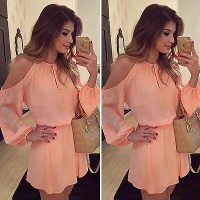 New Women Sexy Long Sleeves Casual Off Shoulder Chiffon Party Evening Club wear Short Mini Dress