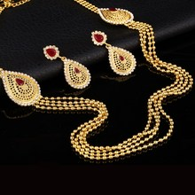 Vintage Look Indian Tassel Earring Maxi Necklace For Women White Crystal Red Gold Plated Turkey Jewelry Set 2016 Fashion