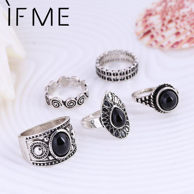 IF ME Vintage Midi Ring Sets Nature Black Stone Finger Rings for Women Female Turkish Ring Antique Silver Color Steampunk Style