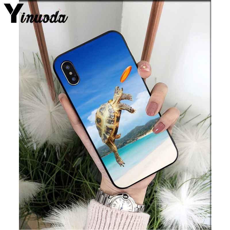 Yinuoda الجزء السفلي من البحر السلاحف TPU لينة سيليكون غطاء إطار هاتف محمول ل فون X XS ماكس 6 6s 7 7 زائد 8 8 زائد 5 5S SE XR