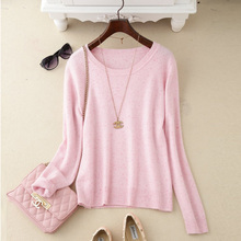 Winter New high-end fashion dots of Color round Neck Cashmere Sweater Female Short Paragraph bottoming Sweater knit Pullover