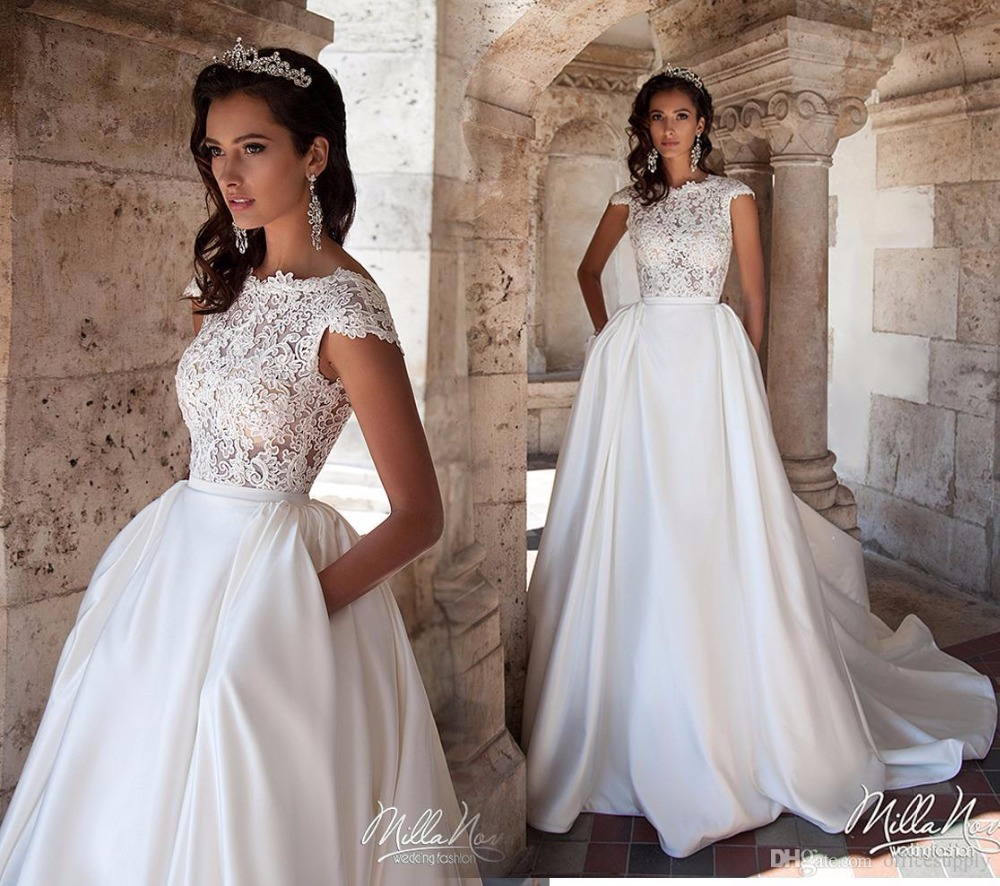 Online get cheap cap sleeve with pockets wedding dresses 2017 new white a line wedding dresses with pockets cheap capped sleeves lace appliques backless ombrellifo Choice Image