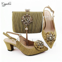 Elegant lady high heel pointed toe pump gold shoes and purse handbag set with shinning stones MM1088, heel height 6.8cm