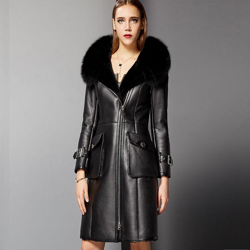 Autumn Winter Fox Fur Collar Natural Real Fur Coat Genuine Leather Jacket Women Clothes 2019 Sheepskin Coat Wool Jacket ZT3157