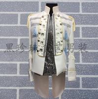 Дворец Для мужчин костюмы дизайн Homme Terno Сценические костюмы для певцов Для мужчин ласточкин хвост Блейзер Одежда для танцев куртка звезда С
