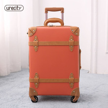 2018 travel luggage spinner rolling retro suitcase genuine leather PU carry-ons 5 colors fashion high quality free shipping 2018 travel suitcase retro luggage genuine leather pu spinner luggage bag handmade high quality travel suitcase on wheels