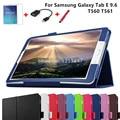 4 Em 1 Moda Top Qualidade Capa de Couro PU para Samsung Galaxy Tab E 9.6 T560 T561 Tablet Case + Protetor de Tela + OTG + Stylus caneta