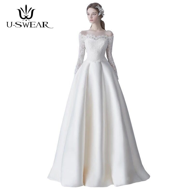 U-SWEAR New Sexy Boat Neck Full Sleeve Lace Lllusion White Long   Evening     Dresses   Party Prom Formal Gowns Vestidos Robe De Soiree