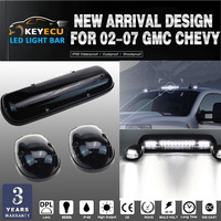 KEYECU SET OF 3PCS Clear Lens 30LED Cab Marker Roof Clearance Lights Assembly for 02 07 GMC Chevy Part number CRL264155AM