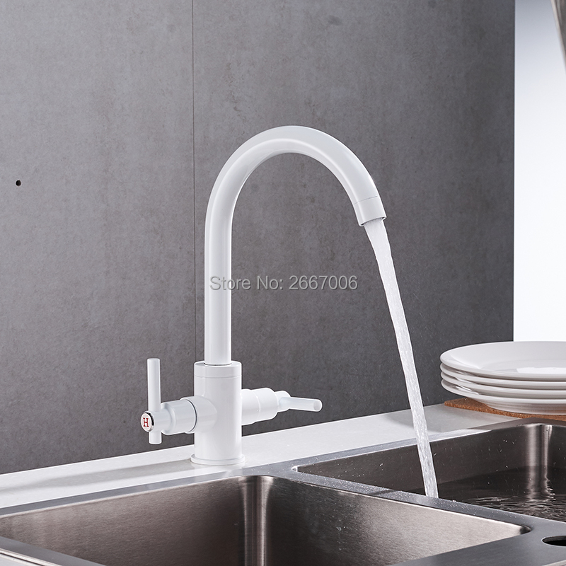 Free Shipping Beautiful White Faucet 360 degree Swivel Spout Dual Handles Hot Cold Control Kitchen Vanity