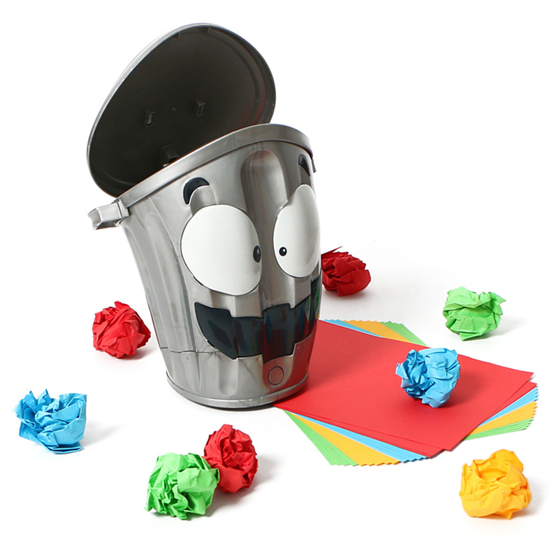 Electronic Toy Try Throwing Paper Balls Into The Moving Trash Bin Funny Game Sports Children Adult Funny Toys Plastic
