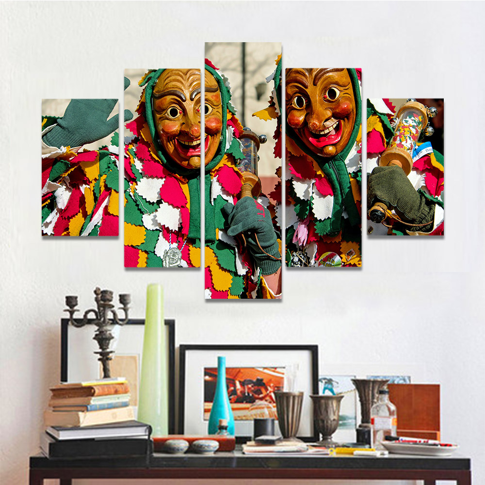 Unframed Canvas Painting Wear Colored Clothes Clown Mask People Picture Prints Wall Picture For Living Room Wall Art Decoration