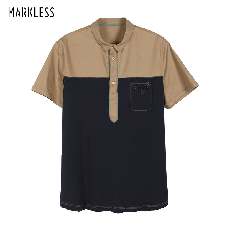Markless Brand Shirts Men Camisa Masculina Short Sleeve Turn Down Collar Patchwork Casual Shirts Chemise Homme TXA4645M