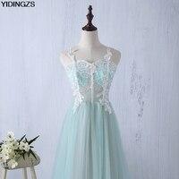 yidingzs кружева назад аппликации прозрачные платья подружки невесты спагетти ремень формальное свадебное платье