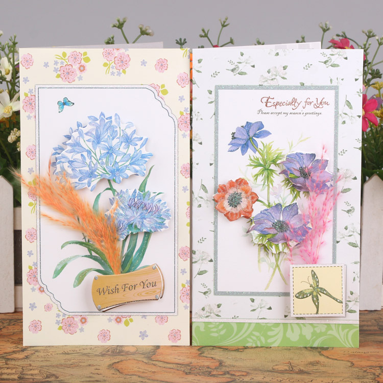 Free ship!1lot=24pc!Dry flower stereo message gift card /Birthday ...