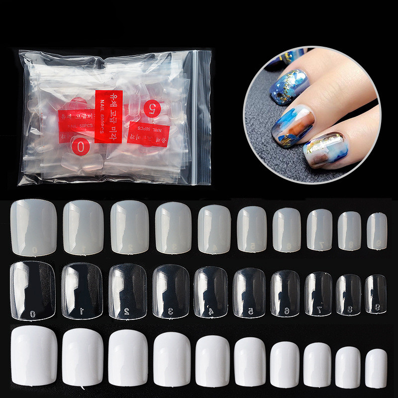Square Tips French 500pcs Uv-Gel-Manicure Acrylic Clear False Natural White Ultra Round-Cover