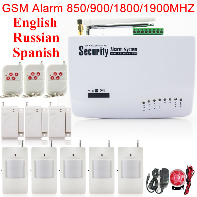 Free ShippingTwo Antenna Wireless 433mhz Home Security GSM Alarm Systems English Russian Spanish Voice Door Sensor PIR Motion цена