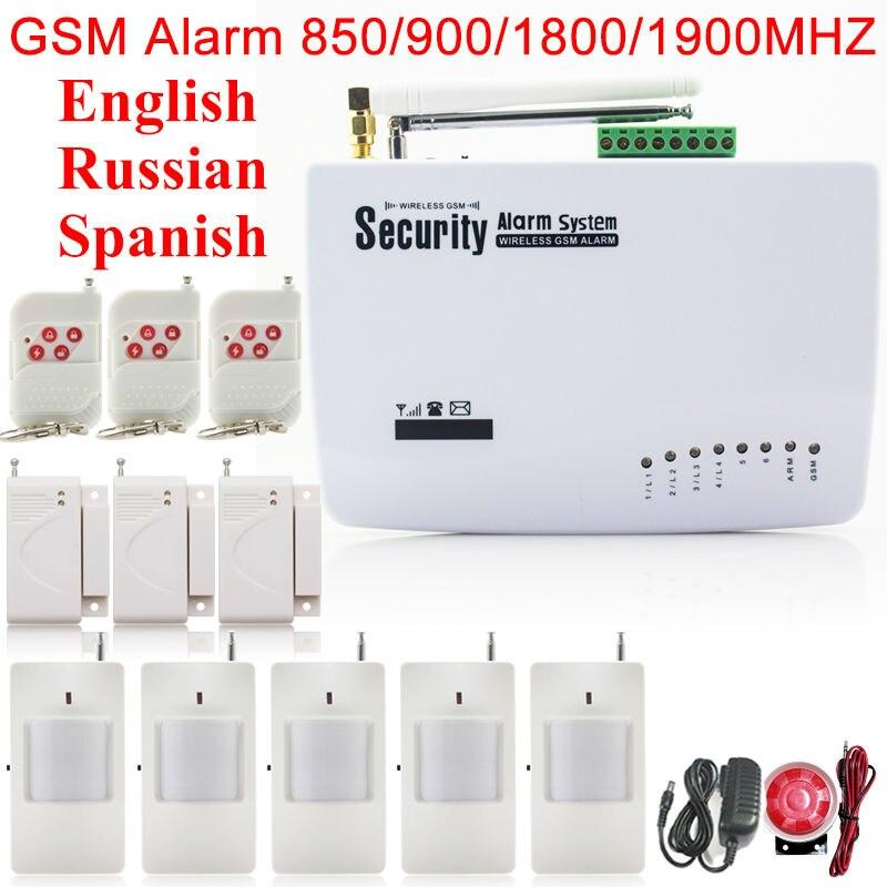 Livraison gratuite antenne sans fil 433 mhz sécurité à domicile GSM systèmes d'alarme anglais russe espagnol porte vocale capteur PIR mouvement