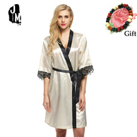 Robe Woman Silk Long Women Lace Wedding Gowns Bridesmaid Lace Hollow Out Half Sleeve Waistband Kimono