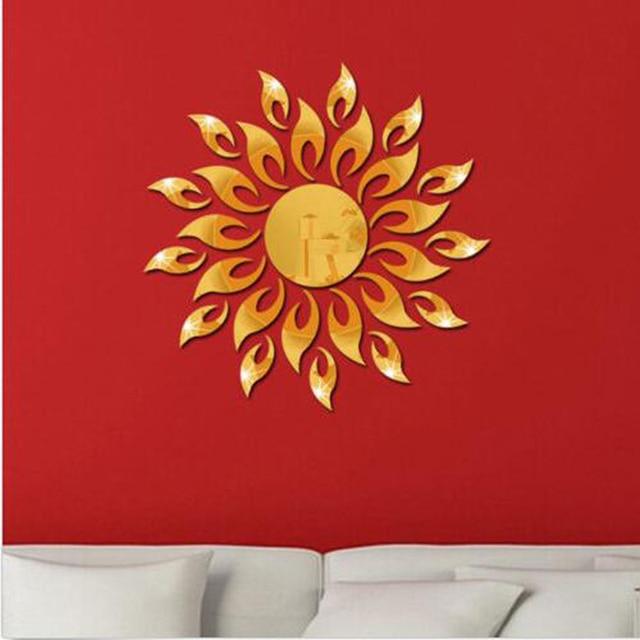 2020 New 3D Mirror Sun Flower Art Removable Wall Sticker Acrylic Mural Decal Home Room Decor Hot Sale 3