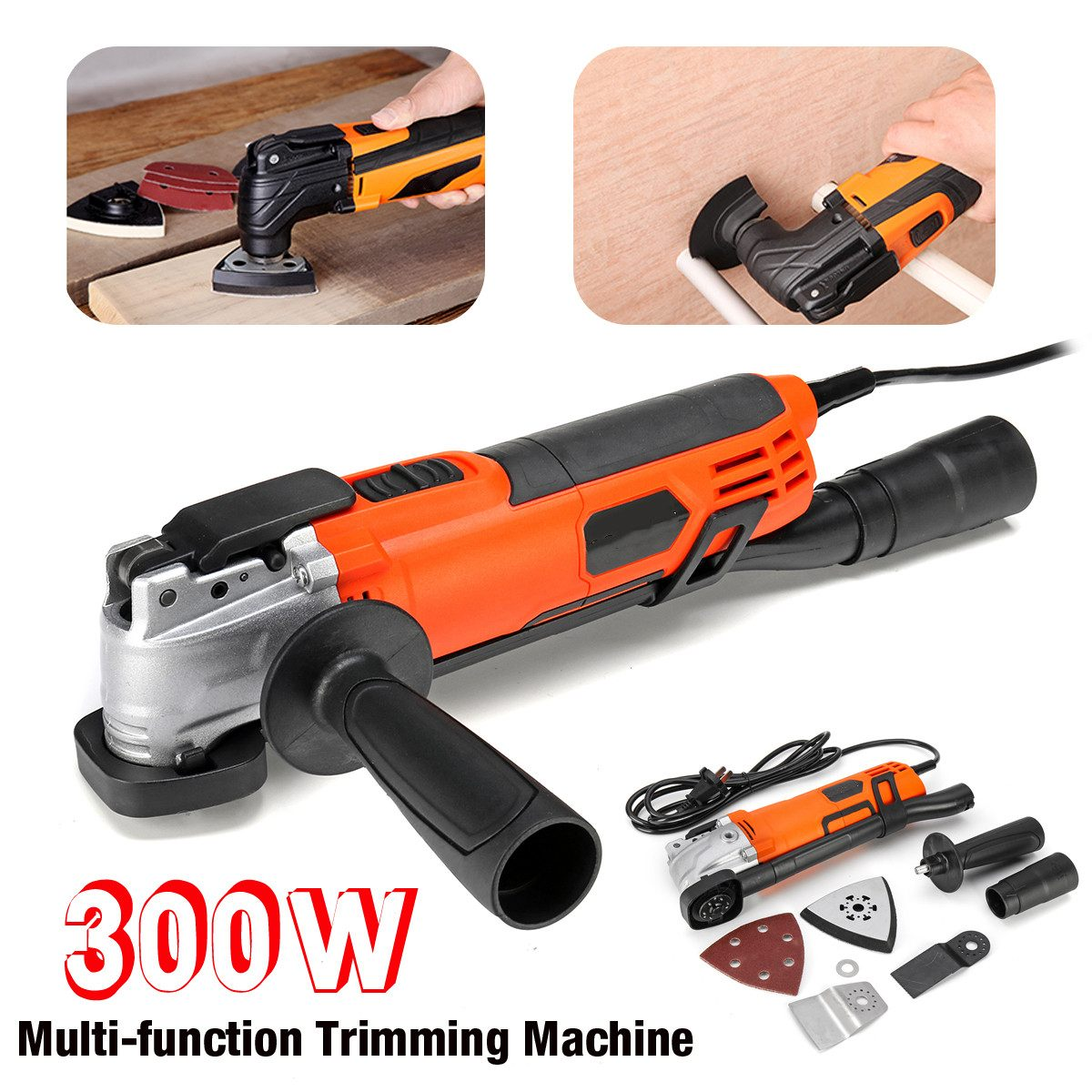 Variable 6 Speed 300W Electric Multifunction Oscillating Tool Kit Multi-Tool Power Tool Electric Grinder Trimmer Saw AccessoriesVariable 6 Speed 300W Electric Multifunction Oscillating Tool Kit Multi-Tool Power Tool Electric Grinder Trimmer Saw Accessories