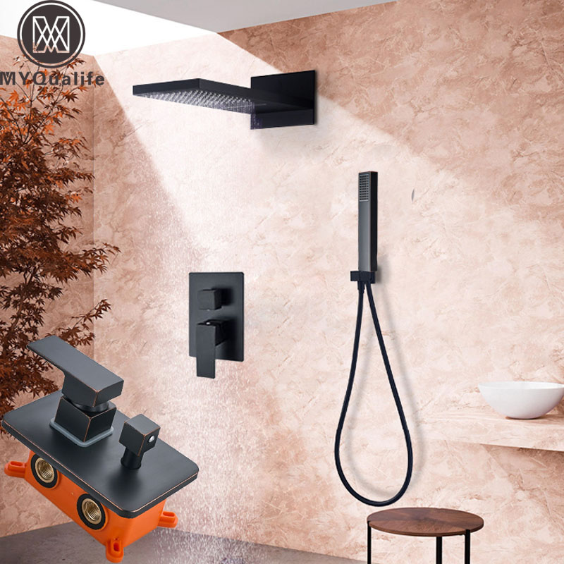 Bathroom Black Shower Mixer Faucet Wall Mounted Rainfall Waterfall Shower Head Bath Shower Set Embedded Box Control Valve bathroom shower faucet chrome or brushed led rain shower system set embedded box thermostat mixer valve control shower head way