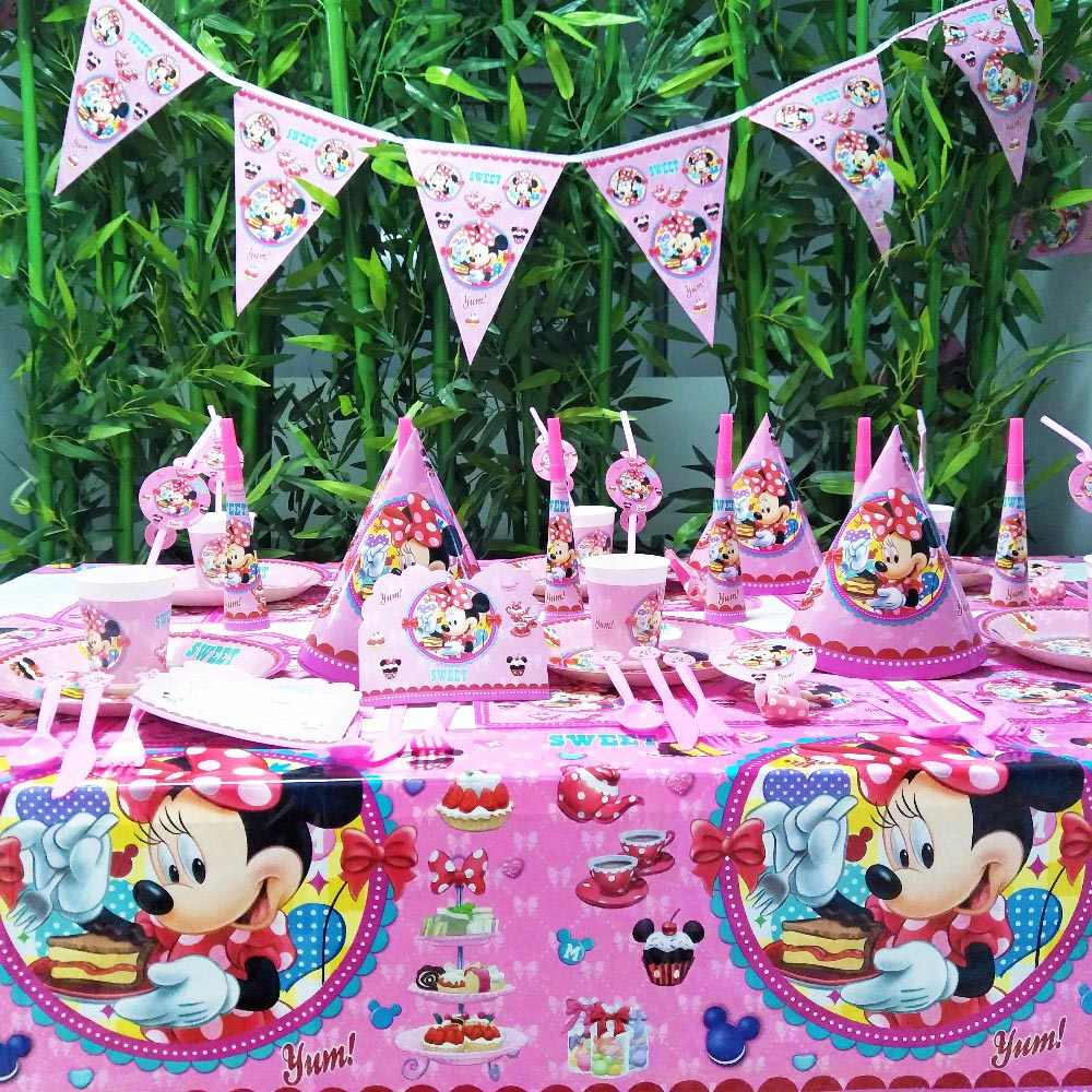 78 pçs/set Asseclas DA DISNEY Mickey Mouse Winnie Pooh Congelado Princesa Sofia Kid Birthday Party Supplies Louça Decoração Favores
