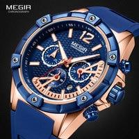 MEGIR для мужчин спортивный хронограф кварцевые наручные часы Армия Силиконовые водостойкий секундомер Relojios Masculinos человек ClockMN2083-2N0