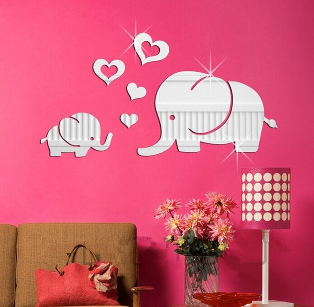 Lovely Elephant Hearts Cartoon Wall Decor Art Kids Room 3D DIY ...