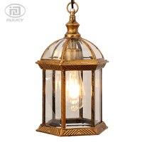 Vintage Exterior Outdoor Pendent Lamp Rust Clear Glass Retro Pendent Lights Villa Balcony Courtyard Garden Corridor Aisle Decor
