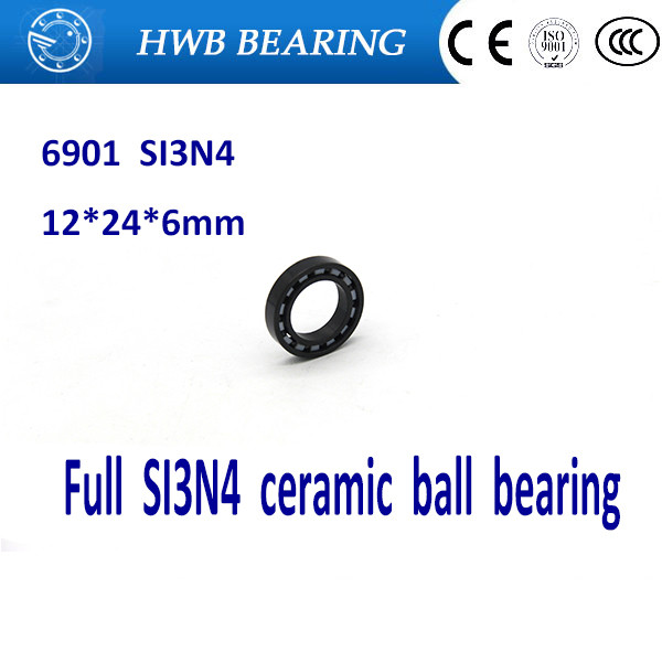 Free shipping 6901 full SI3N4 ceramic deep groove ball bearing 12x24x6mm full complement 61901 P5 ABEC5 free shipping 6901 61901 zro2 full ceramic bearing ball bearing 12 24 6mm