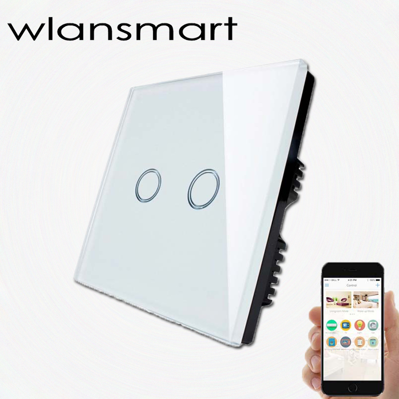 Wlansmart ,Remote wall 2gang Switch UK Standard Tempered Toughened Crystal Glass Panel <font><b>RF433</b></font> <font><b>Controled</b></font> by Broadlink Smart Home image
