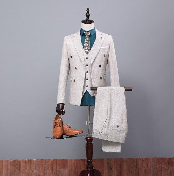 Vornehm Nach Maß Qualität Bräutigam Smoking Groomsmen Anzug Bräutigam/hochzeit/prom/abendessen Anzüge jacke + Pants + Weste Für Bestman