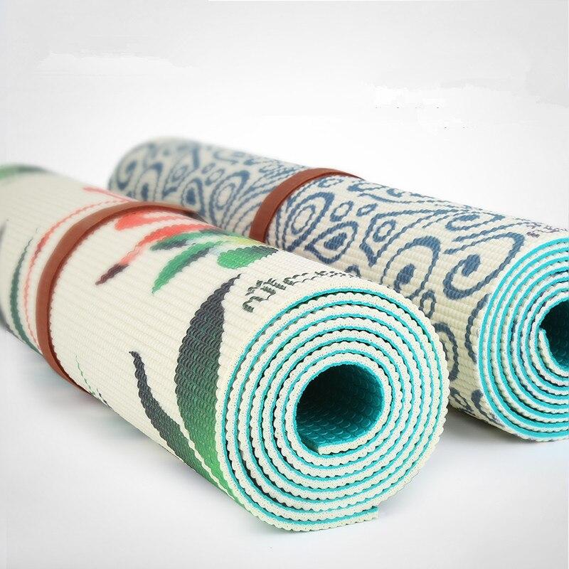 Tapis de yoga Impression Non-slip Vert Deux Face Double Couleur PVC Sport Tapete Tapis De Yoga 183*61 cm * 5mm Fitness Gym Mat Pilates Tapis