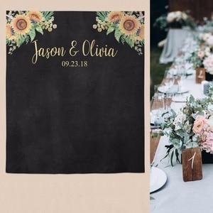 Image 2 - Allenjoy wedding banner backdrop photography wood flower decor signage backdground photocall photophone econ polyester custom