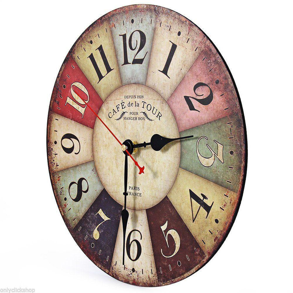 Retro Kitchen Wall Clocks Aliexpresscom Buy Vintage Wooden Wall Clock Shabby Chic Rustic