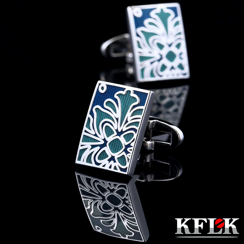 KFLK Jewelry Shirt Cufflinks For Mens Brand Blue Enamel Cuff Links Button High Quality Luxury Wedding Groom Free Shipping